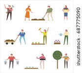 planting people vector... | Shutterstock .eps vector #687775090