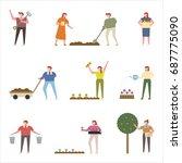 planting people vector... | Shutterstock .eps vector #687775090