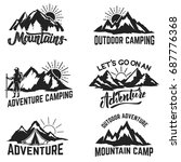 set of mountains adventure ... | Shutterstock .eps vector #687776368