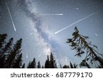 a view of a meteor shower and... | Shutterstock . vector #687779170