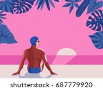 a vector retro poster with a... | Shutterstock .eps vector #687779920
