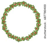 round christmas wreath with... | Shutterstock .eps vector #687780400