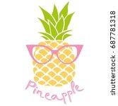 pineapple with glasses  vector  ...   Shutterstock .eps vector #687781318