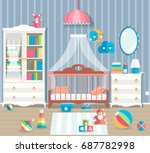 baby room with furniture.... | Shutterstock .eps vector #687782998