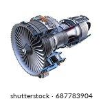 cross section of turbofan jet... | Shutterstock . vector #687783904