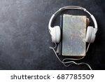 audio book concept. headphones... | Shutterstock . vector #687785509