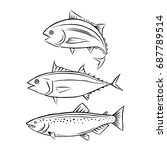 drawing tuna and salmon fish ... | Shutterstock .eps vector #687789514