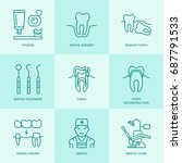 dentist  orthodontics line... | Shutterstock .eps vector #687791533