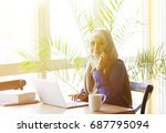 muslim asian woman working in...   Shutterstock . vector #687795094