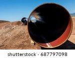 construction of gas pipeline... | Shutterstock . vector #687797098