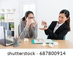 female business woman sneezing... | Shutterstock . vector #687800914