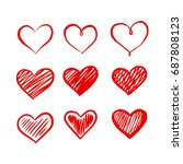 graphic red heart  vector | Shutterstock .eps vector #687808123