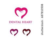 pink love dental  | Shutterstock .eps vector #687810508