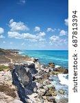 rocky coastline of south end ... | Shutterstock . vector #687813394