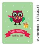 cute owl merry christmas... | Shutterstock .eps vector #687816169