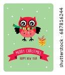 cute owl merry christmas... | Shutterstock .eps vector #687816244