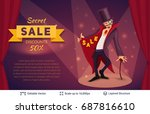 sly character offers specials....   Shutterstock .eps vector #687816610