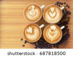 closeup four cup of coffee... | Shutterstock . vector #687818500