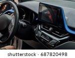 car interior with big screen | Shutterstock . vector #687820498