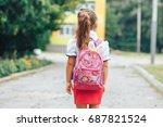 schoolgirl with a backpack on... | Shutterstock . vector #687821524