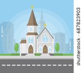church at the street. catholic... | Shutterstock .eps vector #687823903