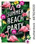summer beach party poster... | Shutterstock .eps vector #687824020