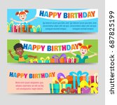birthday banners template with... | Shutterstock .eps vector #687825199