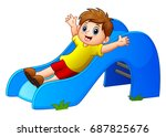 Cartoon Boy Play Sliding Down