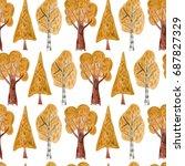 watercolor seamless pattern... | Shutterstock . vector #687827329