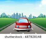 vector illustration of red car... | Shutterstock .eps vector #687828148
