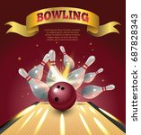bowling club poster with...   Shutterstock .eps vector #687828343