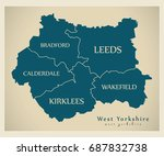 modern map   west yorkshire... | Shutterstock .eps vector #687832738