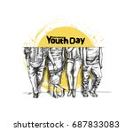 happy group of girl jumping on... | Shutterstock .eps vector #687833083