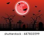 red full moon over the graves... | Shutterstock .eps vector #687833599
