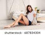 beautiful young feminine sexy... | Shutterstock . vector #687834304