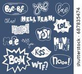set of cute words in doodle... | Shutterstock .eps vector #687835474