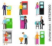 people using atm terminal set ... | Shutterstock .eps vector #687839800
