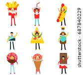 people wearing fast food snacks ... | Shutterstock .eps vector #687840229