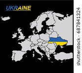 eu and europe map with ukraine... | Shutterstock .eps vector #687841324