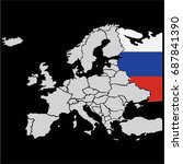 eu and europe map with russia... | Shutterstock .eps vector #687841390