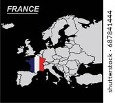 eu and europe map with france... | Shutterstock .eps vector #687841444