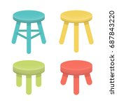 different stool with three legs ... | Shutterstock .eps vector #687843220