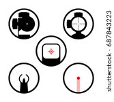 weapon scope or gun sight icons ... | Shutterstock .eps vector #687843223