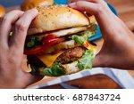 homemade hamburger with fresh... | Shutterstock . vector #687843724