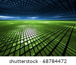 Global Grid - Fractal Landscape - stock photo