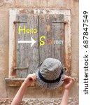 hello summer concept on wooden... | Shutterstock . vector #687847549