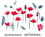 watercolor abstract poppies | Shutterstock . vector #687849064