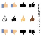 vector set of different thumb... | Shutterstock .eps vector #687857878