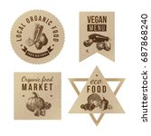 labels with organic food... | Shutterstock .eps vector #687868240