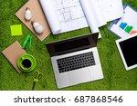 workplace with helmet ... | Shutterstock . vector #687868546